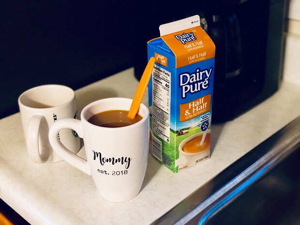 Coffee and Dairy Pure half and half in a Mommy mug