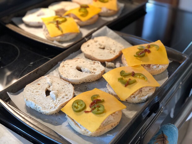 Everything bagel freezer sandwiches