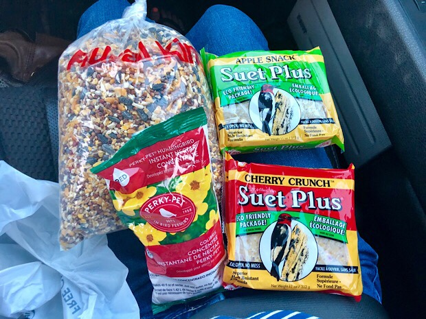 Bird seed, hummingbird nectar, and suet cakes from Rural King