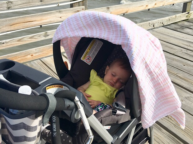 Baby on Avalon Fishing Pier in Outer Banks