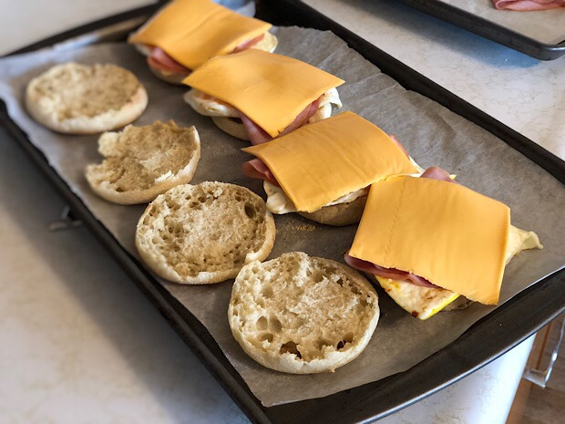 Egg and ham english muffin breakfast sandwiches