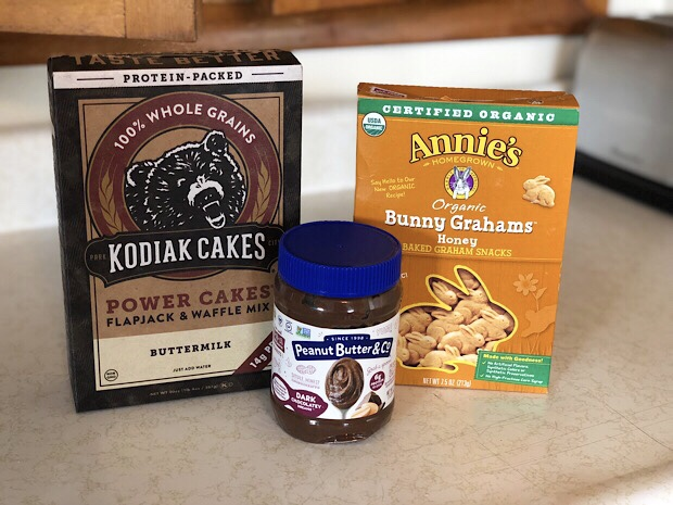 Kodiak Cakes, Annie's Bunny Grahams, and Peanut Butter and Co. Dark Chocolate Dreams Peanut Butter