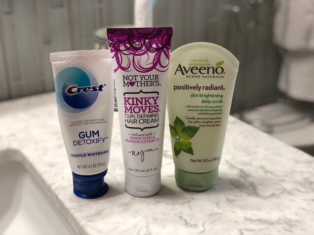 Crest Gum Detoxify, Not Your Mother's Kinky Moves Curl Cream, and Aveeno Face wash