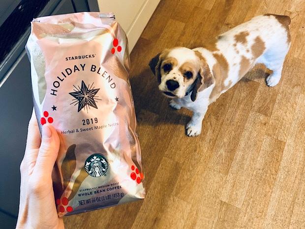 Starbucks Holiday Blend 2019 and cocker spaniel dog