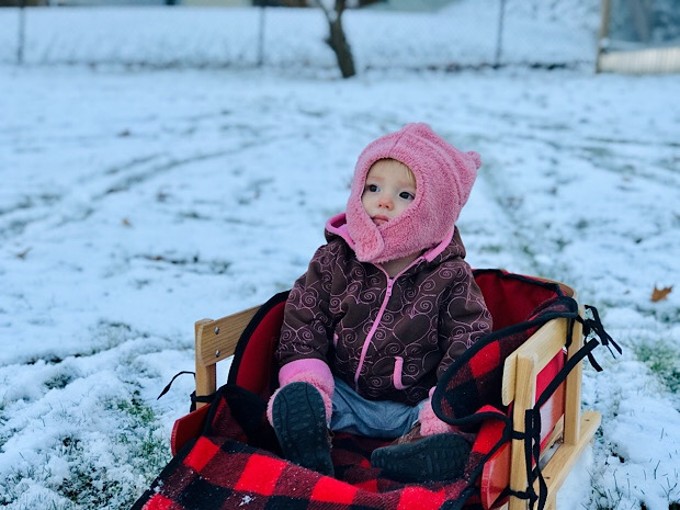 Baby in L.L. Bean sled