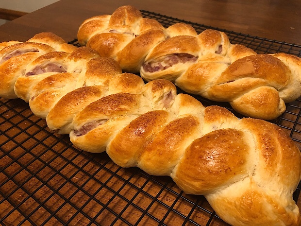 Loaves of challah bread with onion