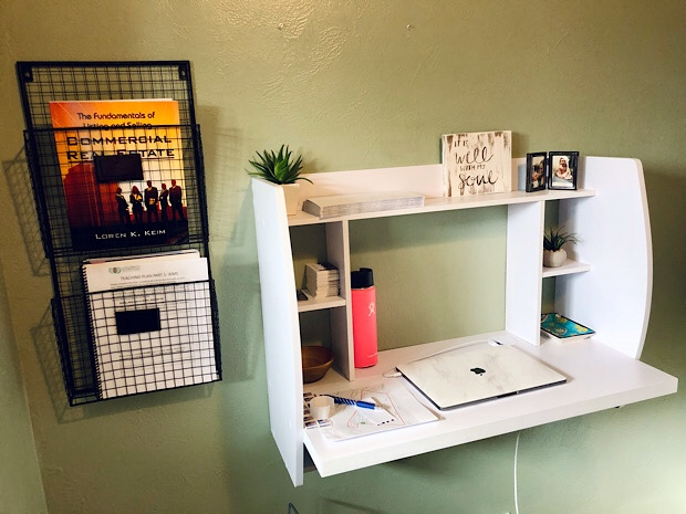 Wall mounted desk and filing