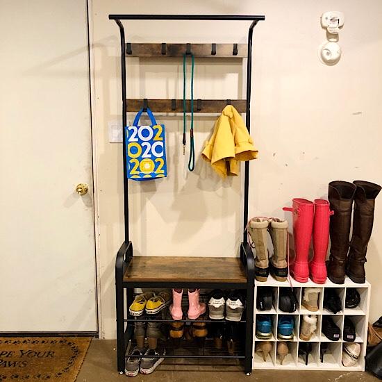 Industrial coat and shoe rack
