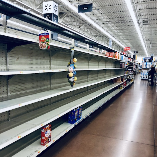 Empty shelves at Walmart during COVID-19