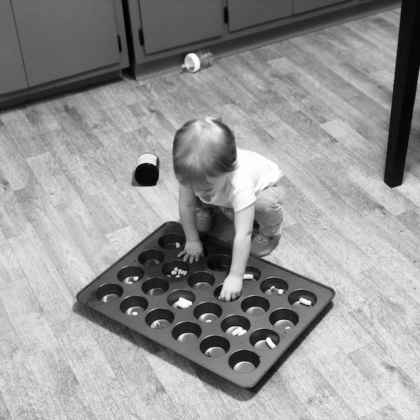 Toddler activity eating out of muffin pan
