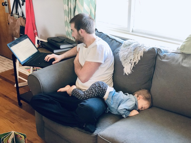 Toddler napping in weird position