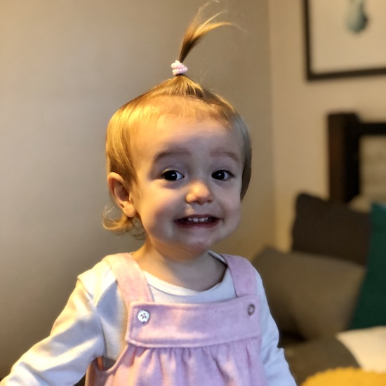Toddler with ponytail