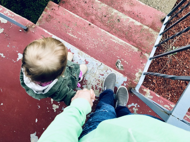 Walking down stairs with toddler