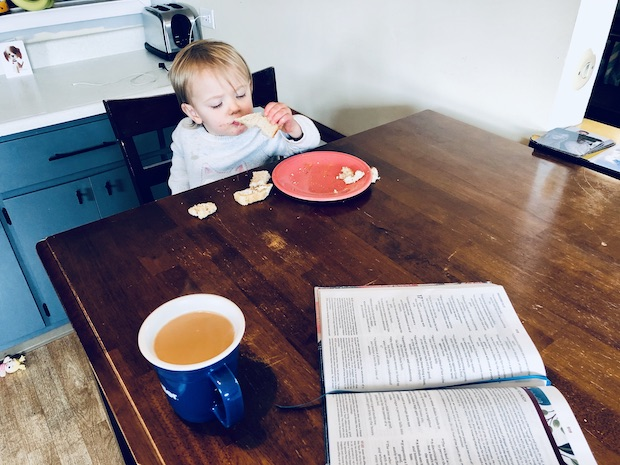 Coffee and bible with toddler