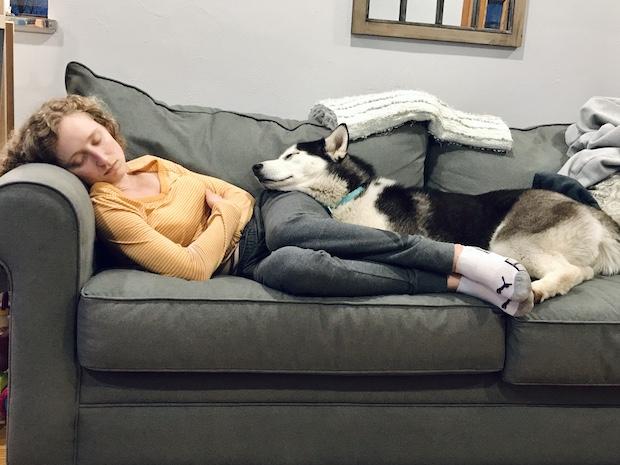 Girl napping with husky
