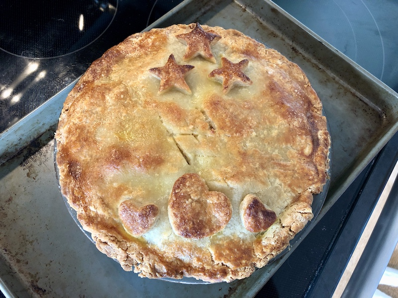 Apple pie with stars and hearts