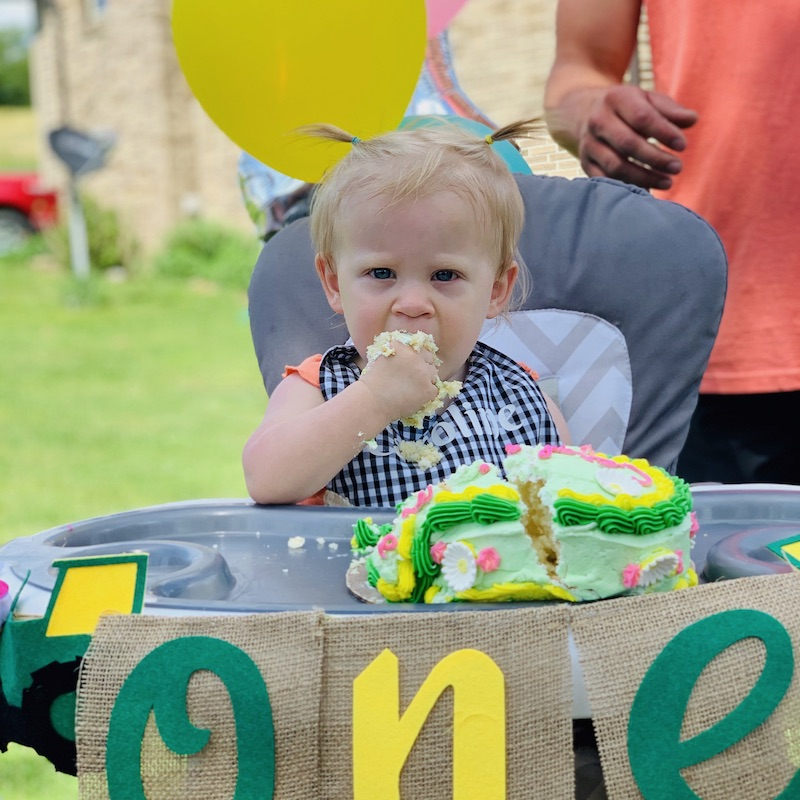 First birthday smash cake John Deere