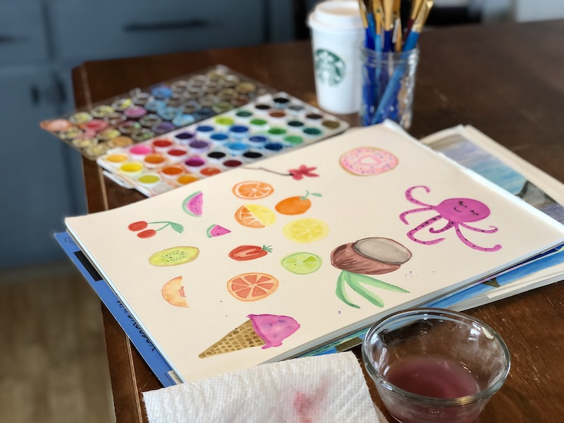 Watercoloring and Starbucks coffee