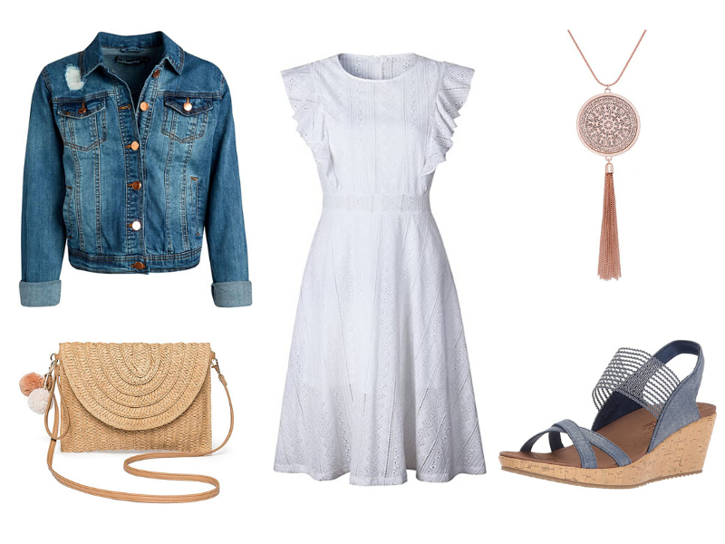 Modest white dress outfit with denim jacket