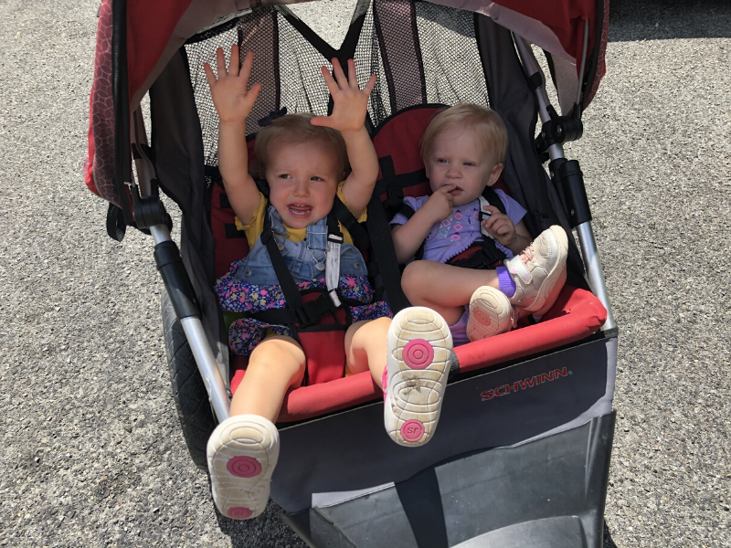 Toddlers in double stroller