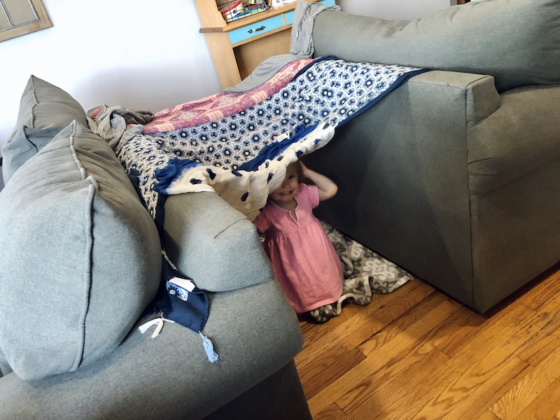 Toddler in fort