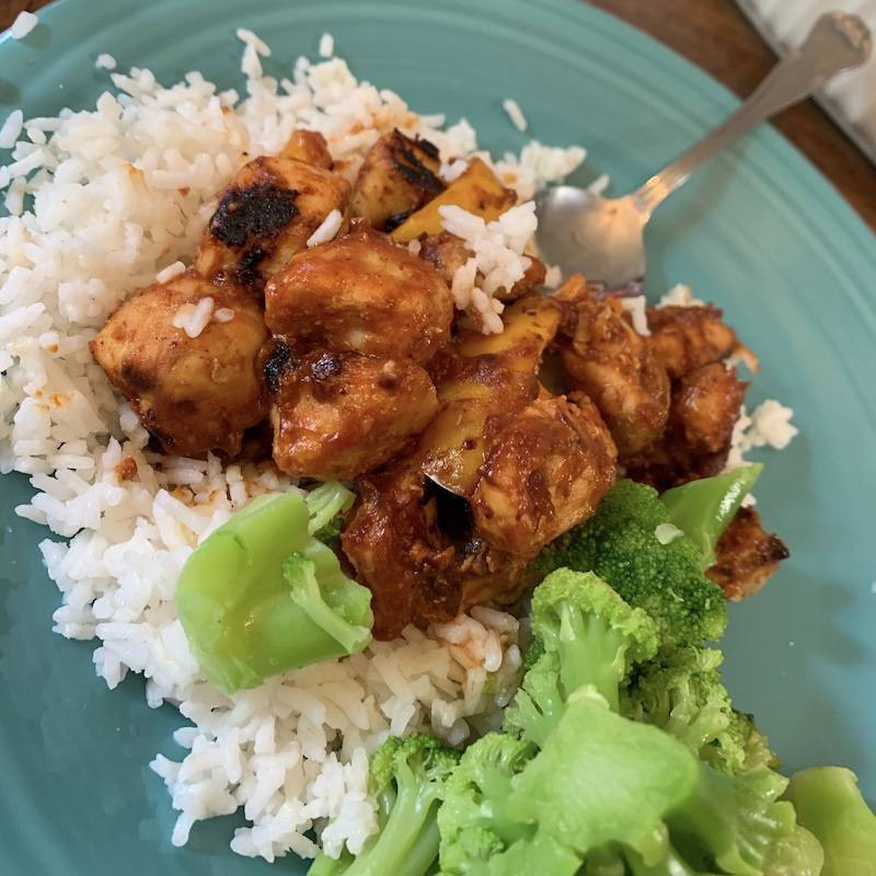 Sweet and sour chicken with rice and broccoli