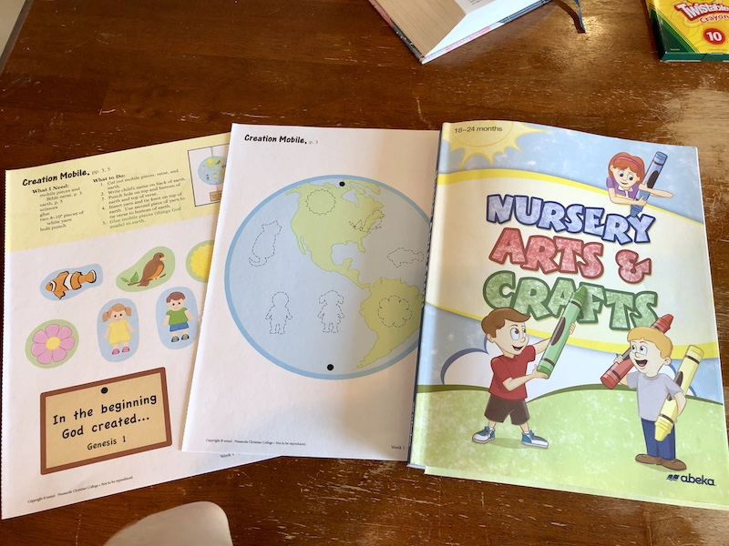 Abeka homeschool nursery arts and crafts book for 18-24 months old