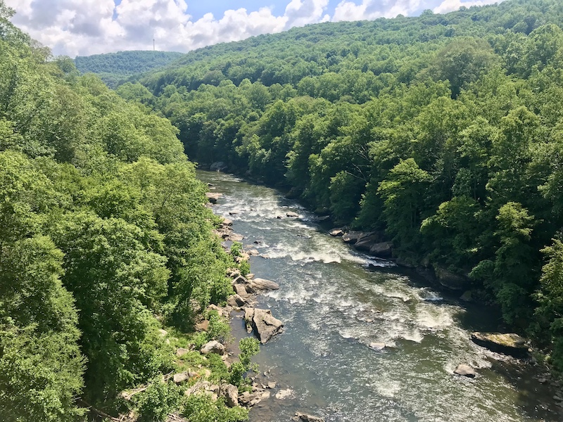 Ohiopyle view from hiking to bridge