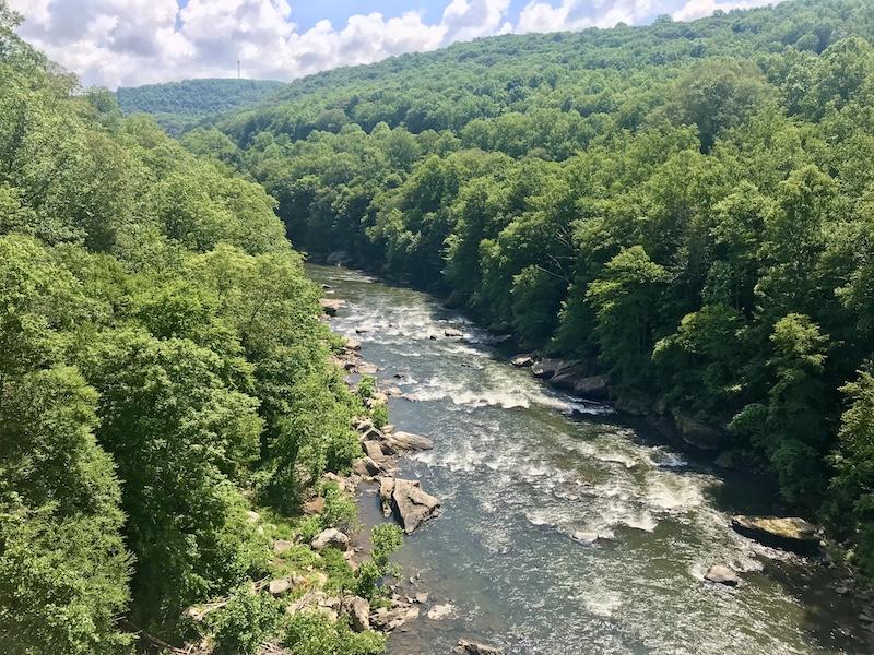 Ohiopyle view from hiking to bridge