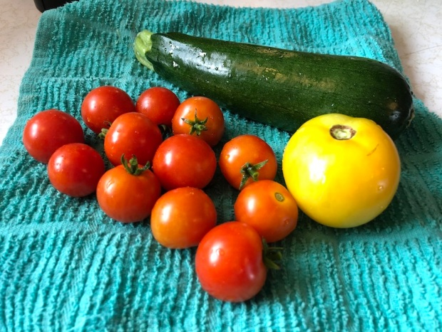 Yellow and cherry tomatoes and zucchini from vegetable garden