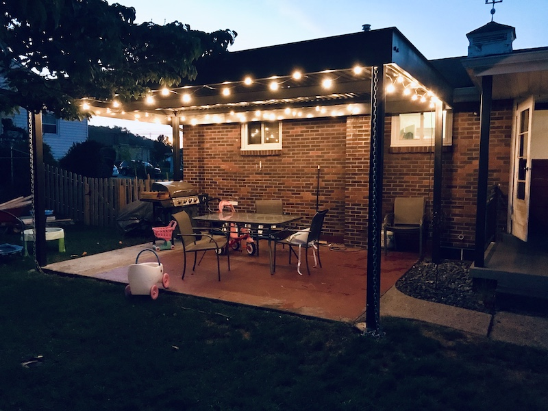 Back porch with string lights