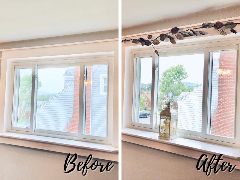 Before and after window fall decor