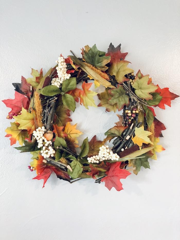 Fall wreath made from Dollar Tree fall decor