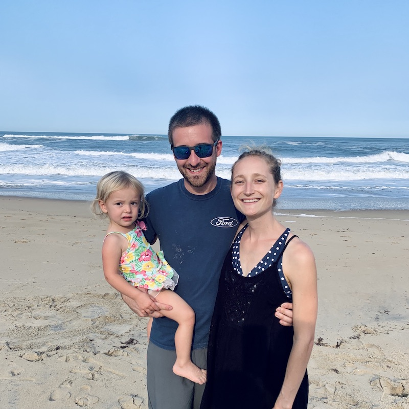 Family photo at the beach in Outer Banks