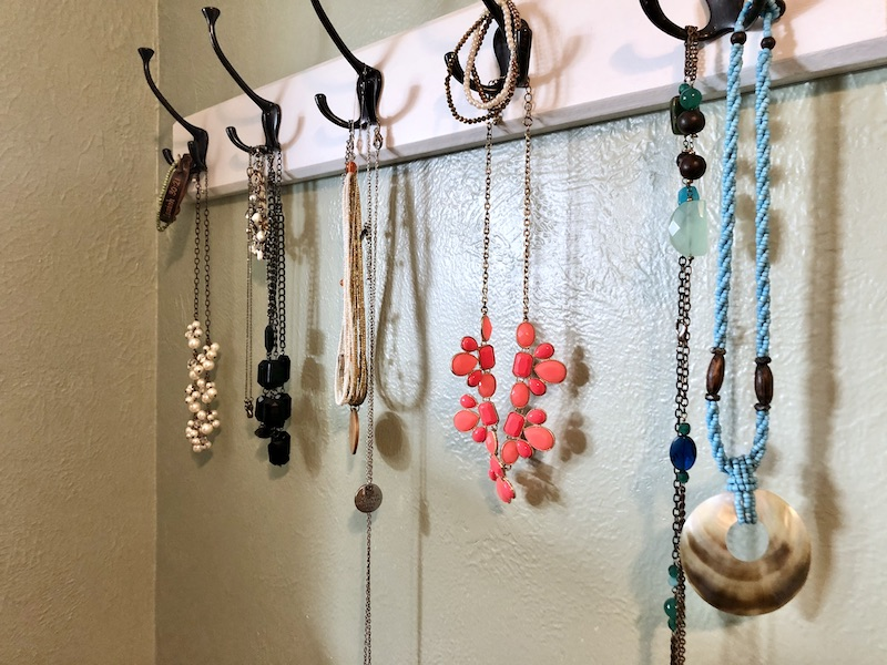 Jewelry hanging on rack
