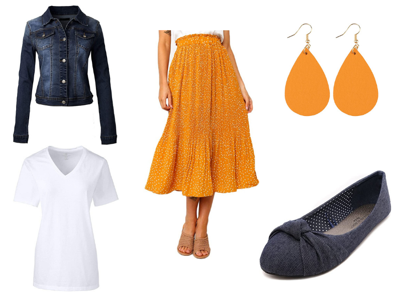 Modest fall outfit idea from Amazon with maxi skirt and denim jacket