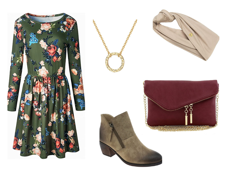 Modest fall outfit idea dress with ankle booties