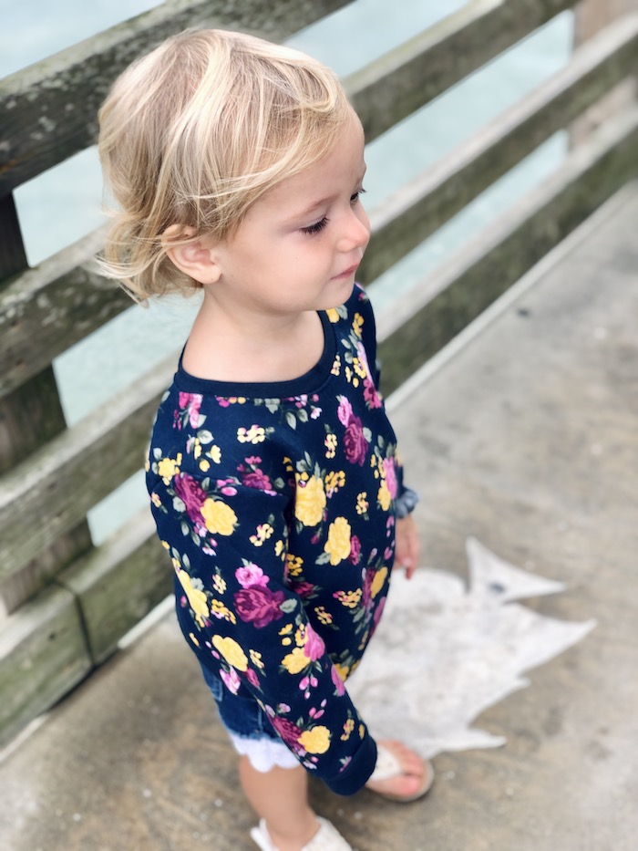 Toddler on Jeanette's Pier in Nags Head