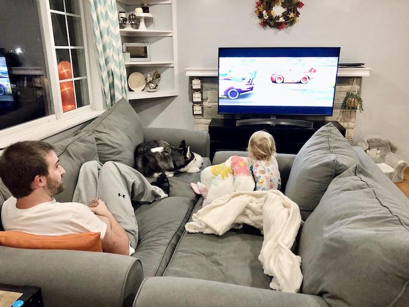 Family movie night watching Cars