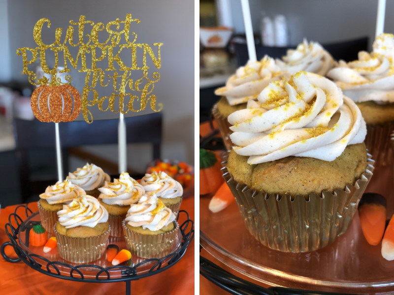 Pumpkin cupcakes for pumpkin birthday party