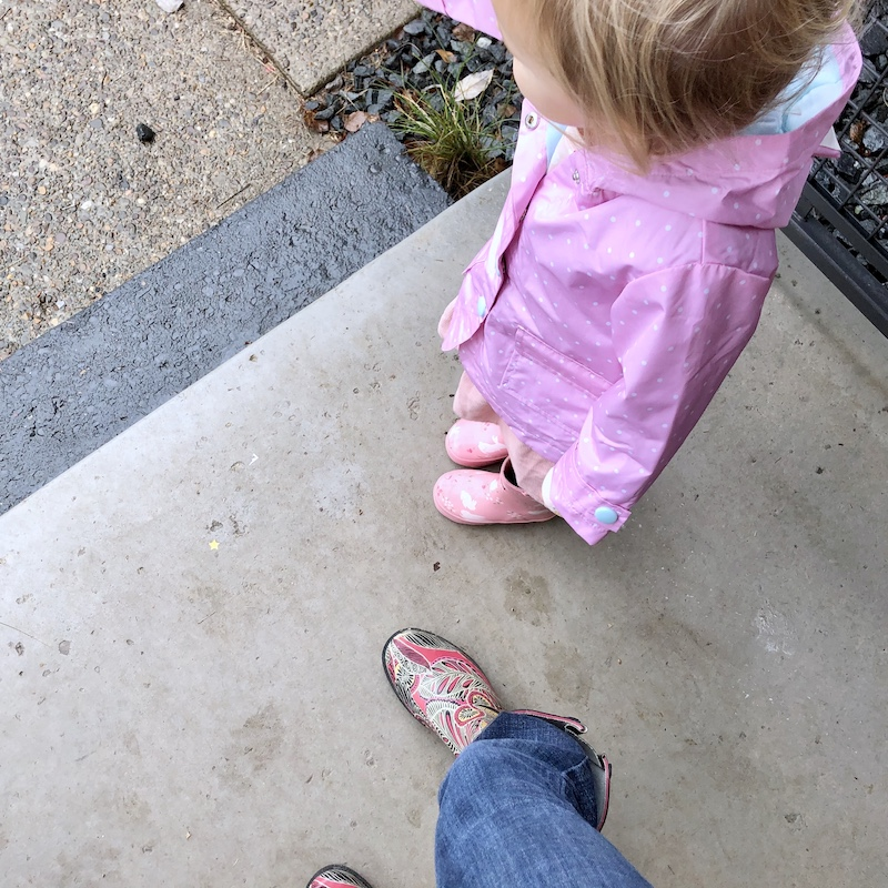 Mother and daughter rain boots