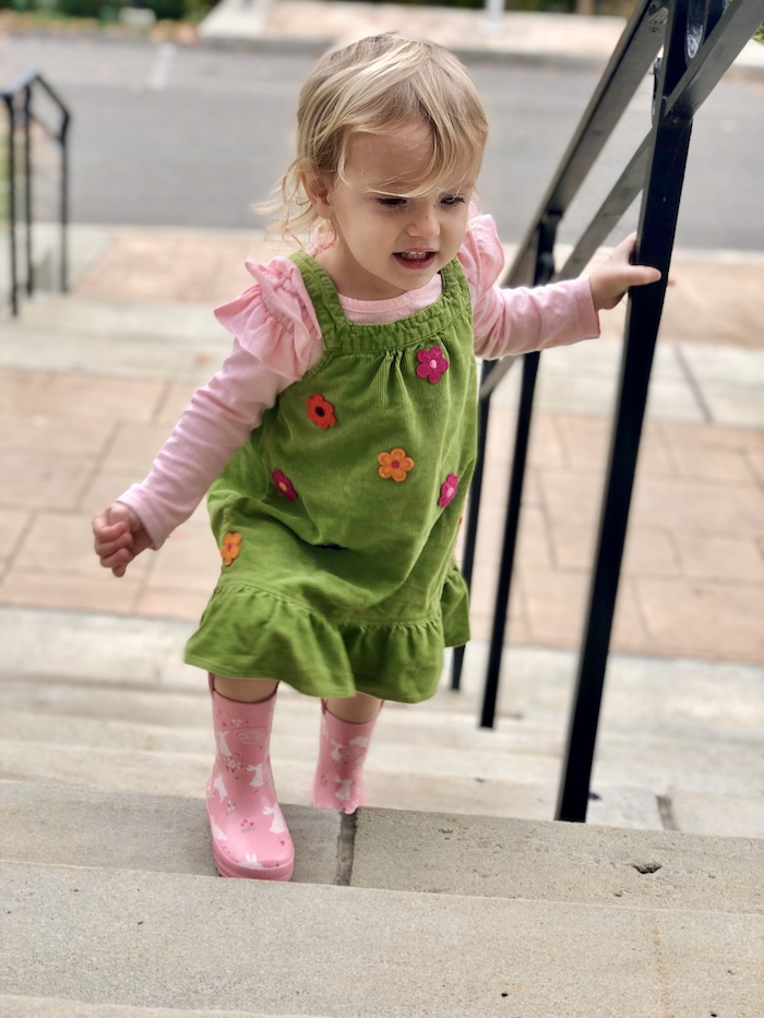 Toddler wearing corduroy dress