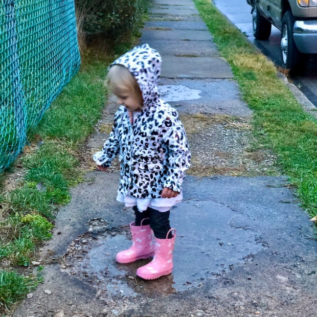 Toddler jumping in a puddle with rain boots
