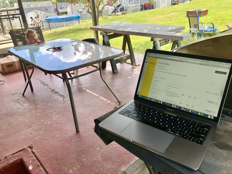 Working outside with toddler