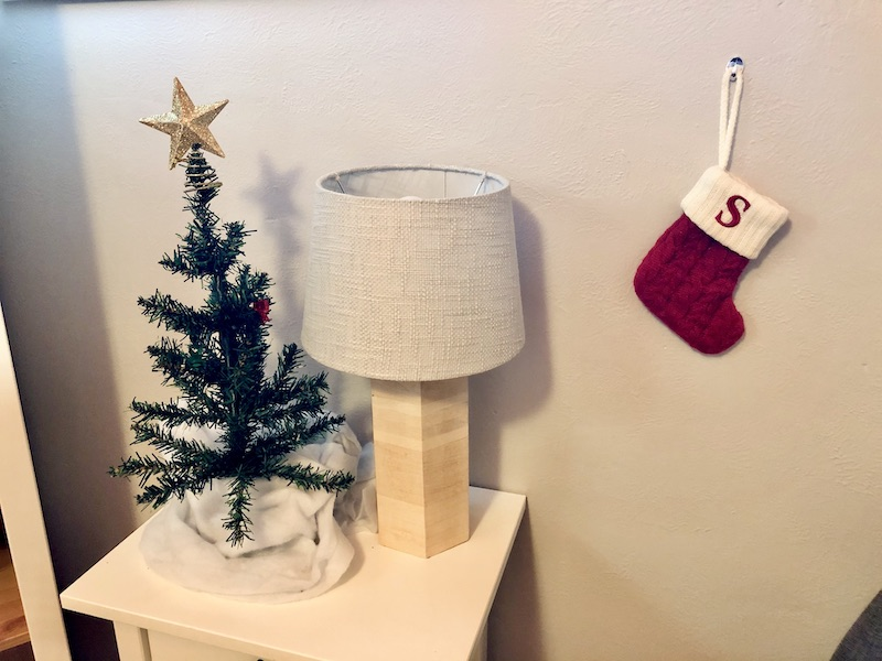 Mini Christmas tree and stocking in kid's room