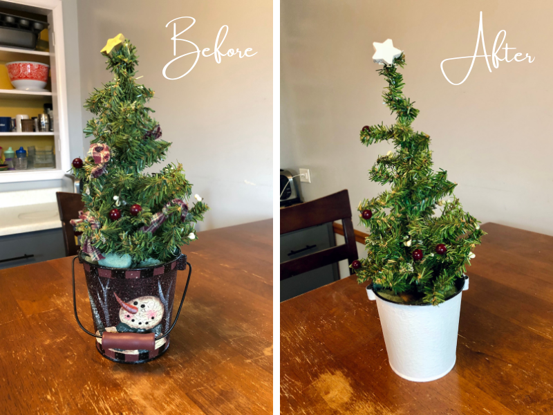 Christmas Tree before and after craft and DIY