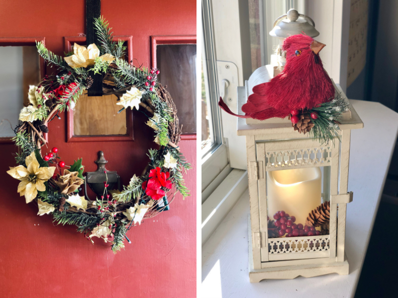 Christmas wreath on red door and lantern decorated for Christmas