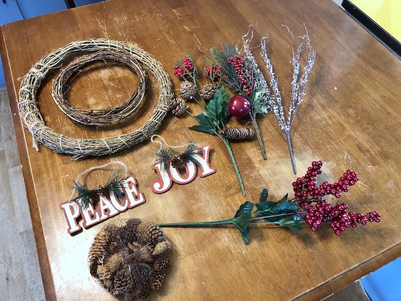 DIY Christmas wreath supplies