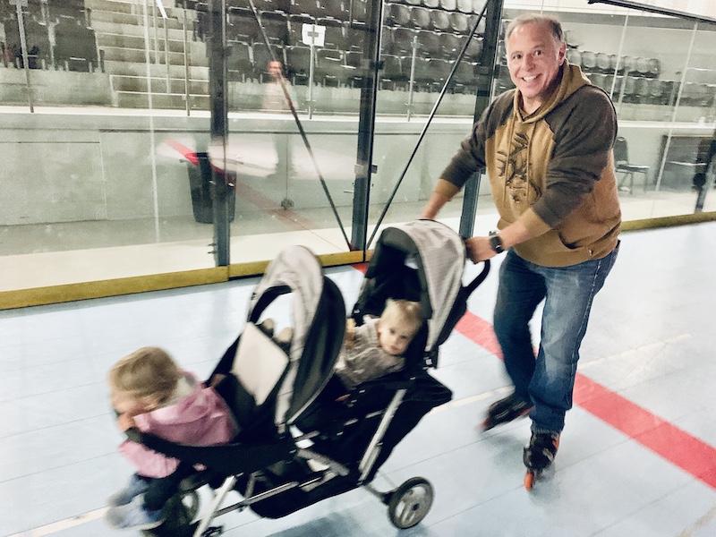 Pushing stroller in rollerblades