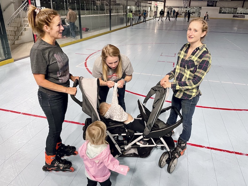 Family at roller rink